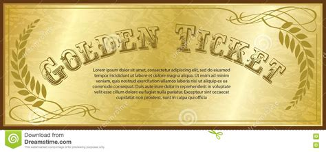 free golden ticket template golden ticket stock vector image 77593538