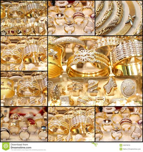 Beautiful Golden Jewelry Collage Royalty Free Stock Image   Image: 34976016