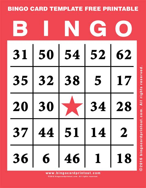 Printable Bingo Card Template by Bingo Card Template Free Printable Bingocardprintout