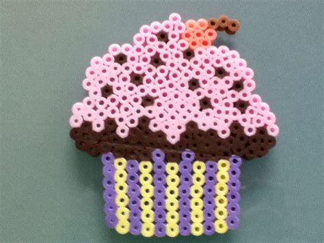 perler bead cupcake perler bead pink cupcake by purplepandacharms on deviantart