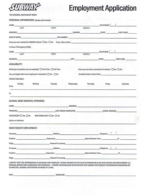 online printable job application for subway printable employment application for subway employment