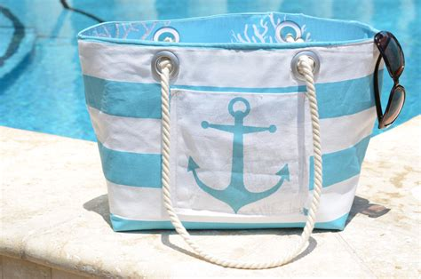 nautical tote bag nautical tote with turquoise and white by robertcayman