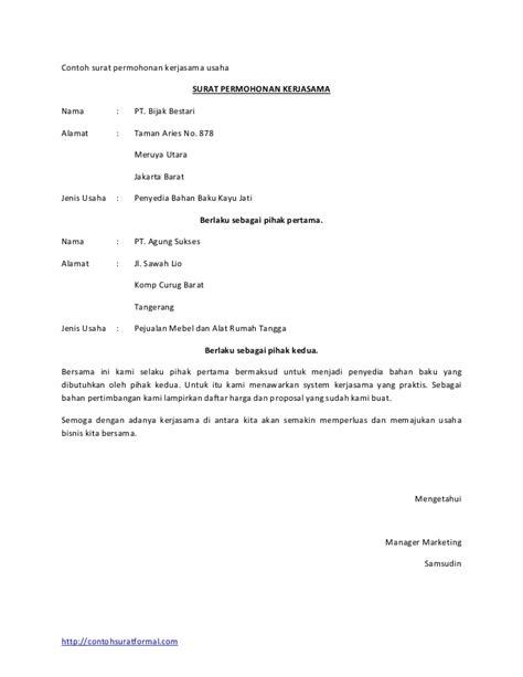 surat permohonan kerja sama 28 images contoh surat perjanjian