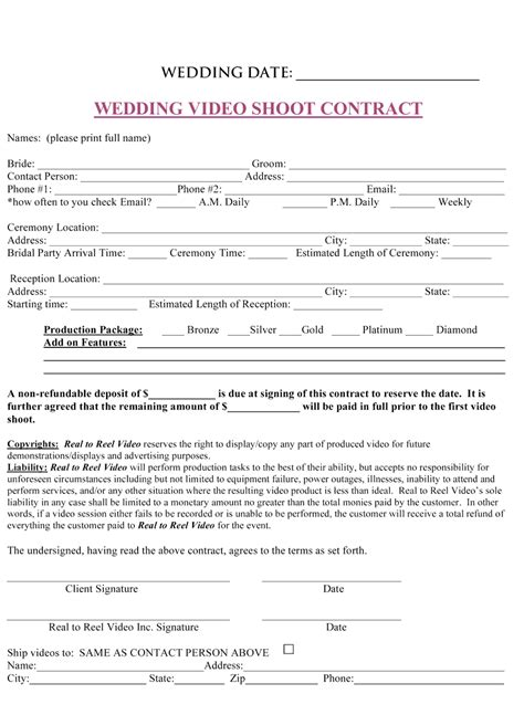 wedding contract templates wedding contract template images frompo