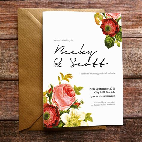 Floral Wedding Invitations by Vintage Floral Wedding Invitation And Stationery By Russet