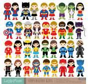 36 Kids Superhero Costumes Clipart Superheroes