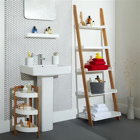 Cottage Bathroom Look Add This Bathroom Ladder Shelf Bathroom Ladder Shelves