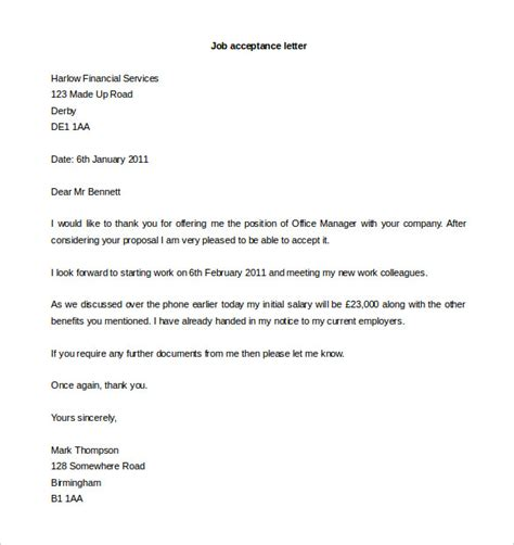 Offer Letter For Joining Acceptance Letter Template 10 Free Word Pdf Documents