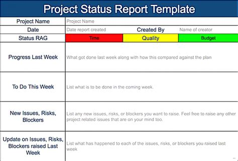 simple status report template project status report template excel simple pictures