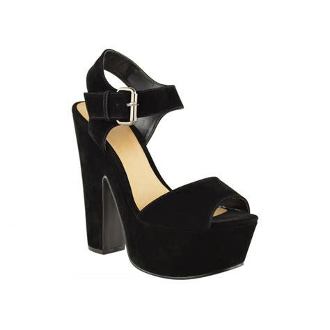 black suede block heel platform shoes parisia fashion