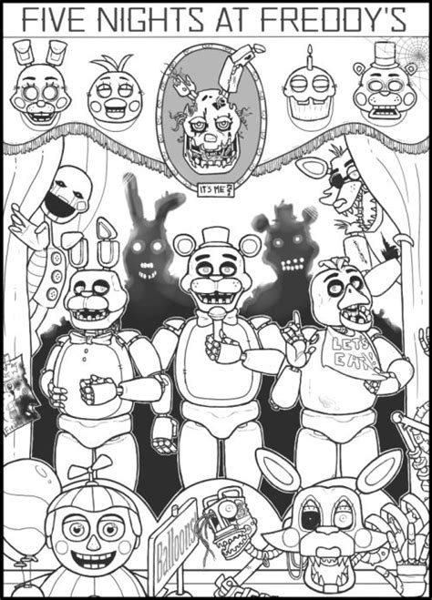Fnaf 1 Coloring Pages by Fnaf Free Coloring Pages