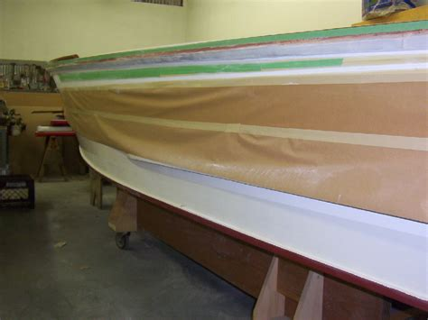 higgins boat restoration another picture of taping off for the striping