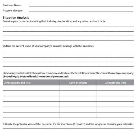 account plan templates sample templates