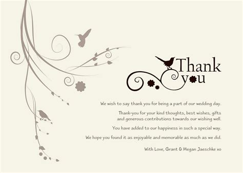 thank you template for wedding gifts thank you notes sles for gift in shapes loving