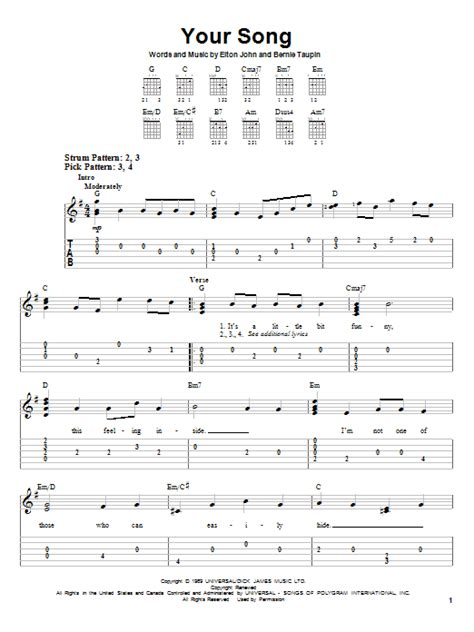song guitar your song sheet by elton easy guitar tab 28640