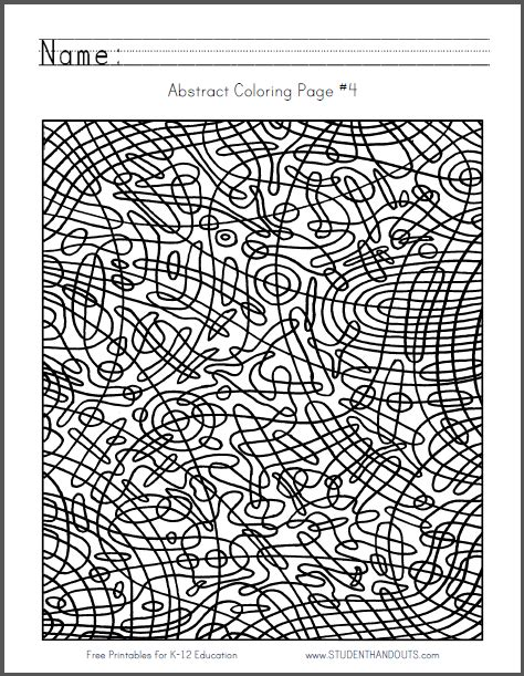 abstract coloring pages pdf abstract coloring page 4 free to print pdf file