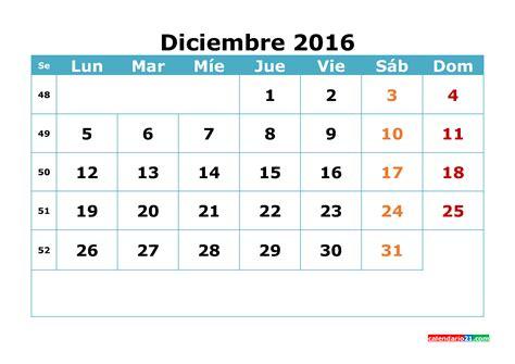 Calendario De Diciembre Calendario Diciembre 2016 Para Imprimir Gratis Pdf Word
