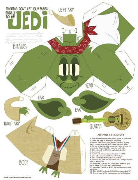 Paper Folding Toys - yoda mashup papertoy de matt hawkins paper toys and
