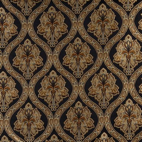 Traditional Upholstery Midnight Gold And Ivory Traditional Brocade Upholstery