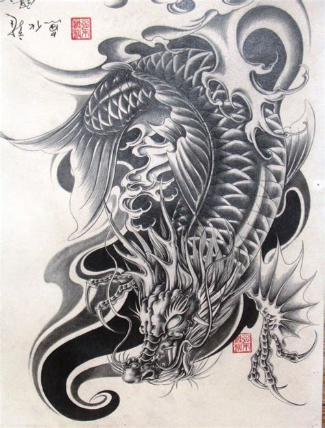 dragon fish tattoo designs koi pinteres