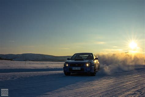 subaru snow drifting on icy roads from norway to lapland