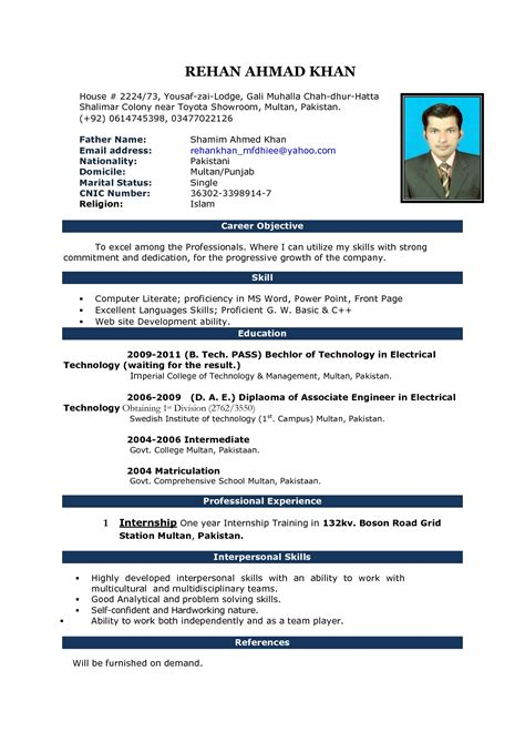 Curriculum Vitae Format In Ms Word by Curriculum Vitae Sle Template Resume Builder