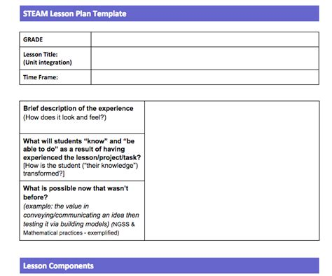 Steam Lesson Plan Template Steam Stem Planning Template