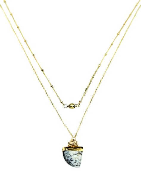 Opal Dendrite dendrite opal shark tooth delicate multi strand necklace