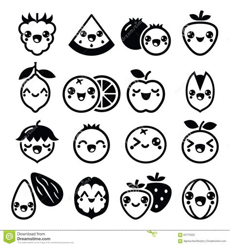design icon cute kawaii fruit and nuts cute characters design vector