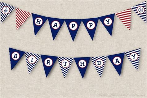 Nautical Birthday Banner Instant Download Printable Pdf Happy Birthday Banner Template Photoshop