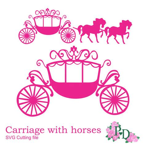 svg dxf png princess carriage horse cutting file digital
