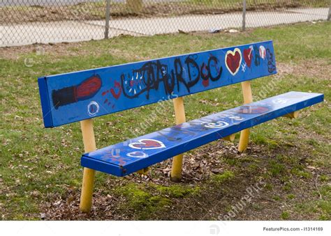 benching graffiti picture of park bench