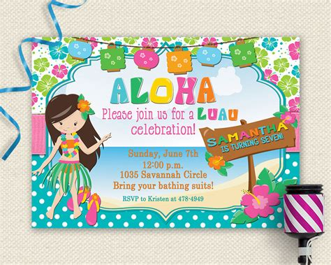 free printable birthday invitations luau 20 luau birthday invitations designs birthday party