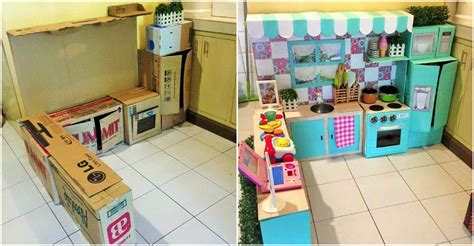 mini play kitchen set for made of cardboard boxes