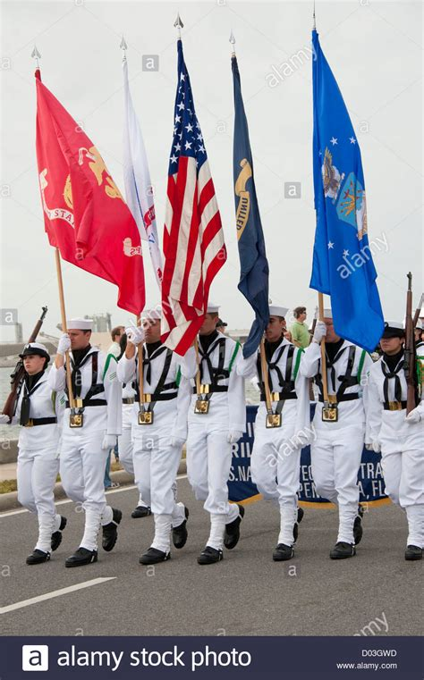 what is the color guard color guard carries flags in parade stock photo