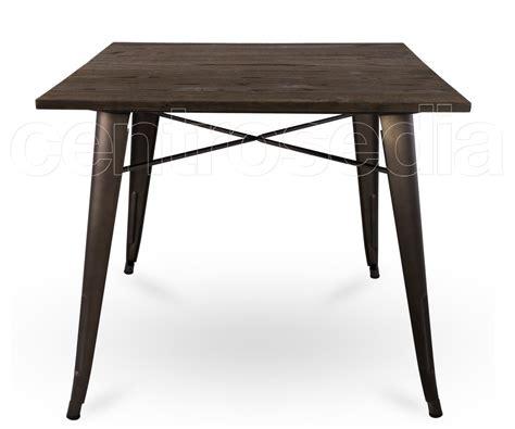 tavolo metallo ares tavolo metallo style 80x80 cm piano legno