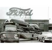 Vintage 1951 Ford Semi Truck Car Carrier Leaving