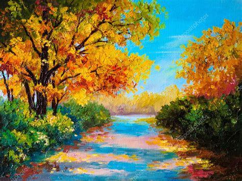 Landscape Pictures To Draw And Paint Obraz Olejny Pejzaż Jesień Kolorowy Las Zdjęcie