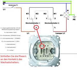 schaltplan wechselschalter mit 2 len wechselschaltung anschlie 223 en mit schaltplan leicht gemacht