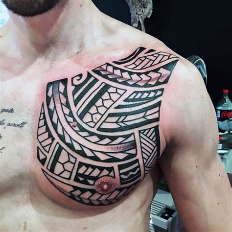 easy tattoo on chest simple black and white polynesian style tattoo on chest