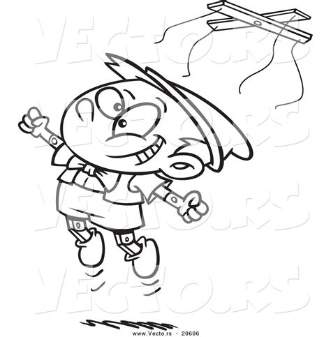 boy jumping coloring page children baking cartoon