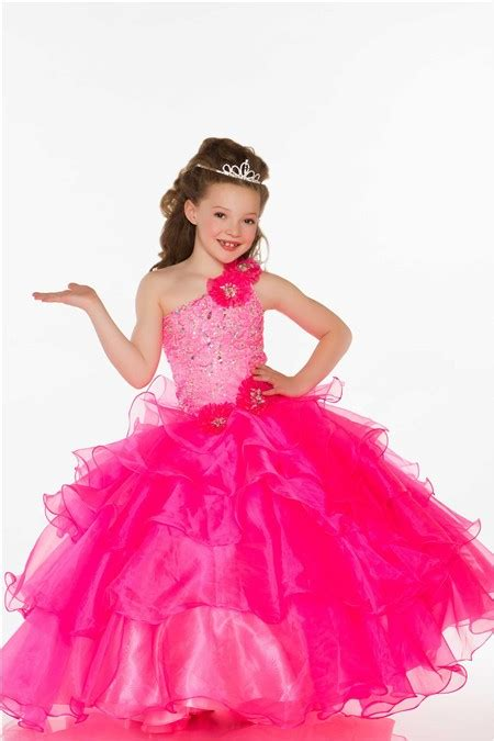 Carset 3 In Hug Flower Dress Hotpink one shoulder pink organza ruffle beaded prom dress with flowers