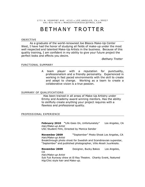 make up artist cover letter makeup artist resume sles sidemcicek