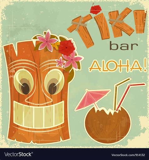 Invitation To Tiki Bar Royalty Free Vector Image Tiki Bar Menu Template
