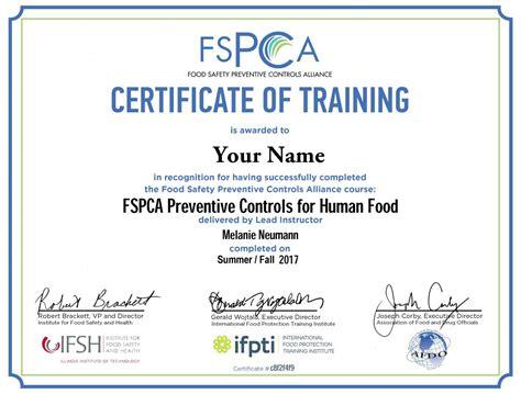 servsafe certificate template pcqi certification 100 food safety program