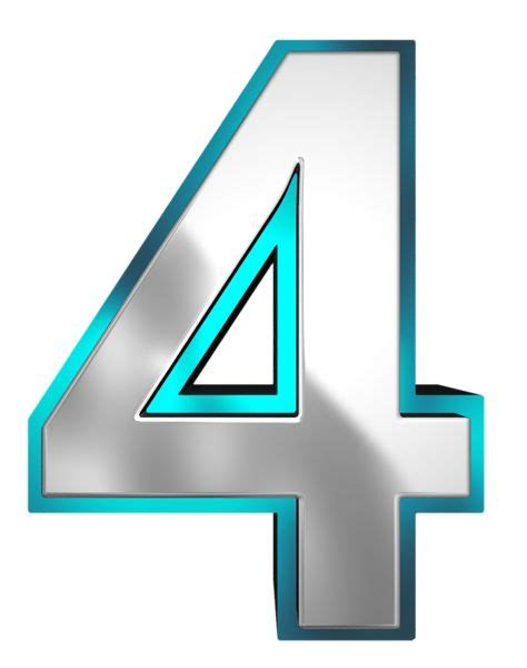 Number Four metallic and blue number four png clipart image n 250 meros