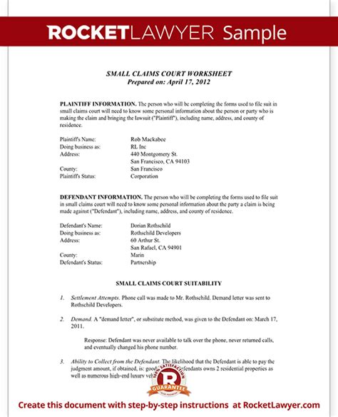 Letter Small Claims Court Small Claims Worksheet Template With Sle