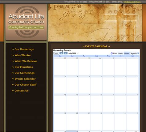 Church Website Template Christian Church Web Template Church Website Design 247 Church Calendar Template