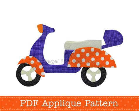 scooter applique template motorcycle motorbike diy pdf
