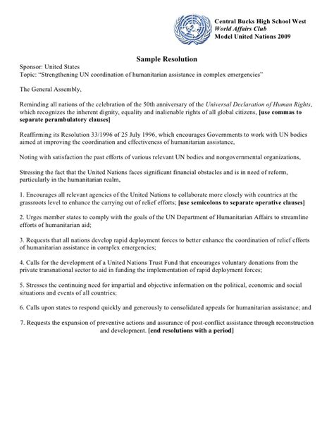 student congress resolution template choice image